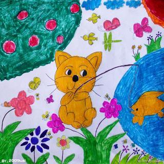 幼儿小猫钓大鱼纸牌步骤图