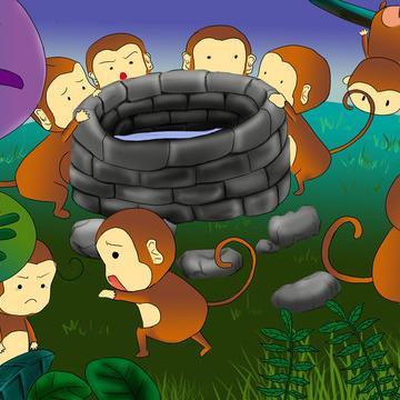 呢,我们教大家猴子捞月的猴子简笔画教程,童话故事中的图画,现在