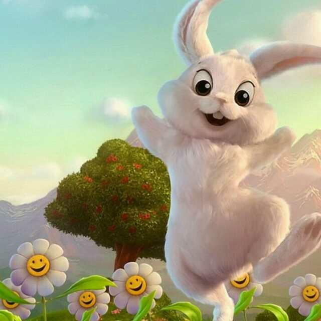 简约手绘白兔头像