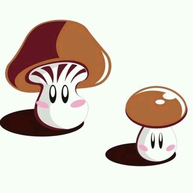香菇卡通简笔画彩色